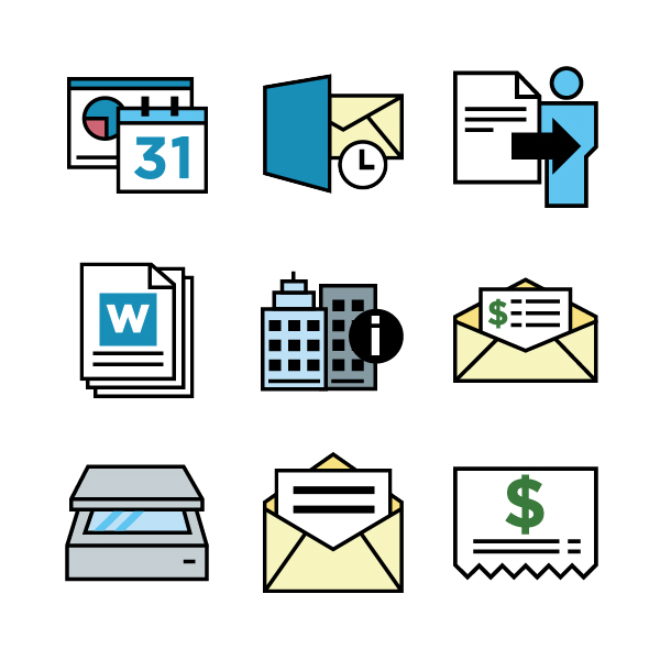 Jayro Design UI icons illustration reports mail buildings vouchers receipts documents scanner