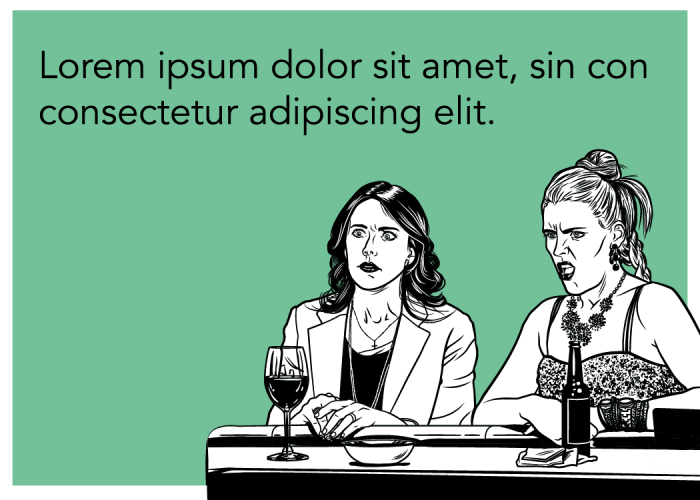 Unused illustration exploratory for Cougar Town on TBS and someecards.
